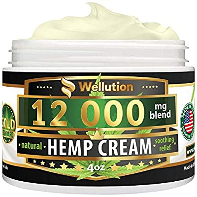 Hemp Cream - 12,000 mg / 4 oz - Natural Seed Oil Extract for Knee, Lower Back, Foot, Muscle, Wrist and Joint Pain Relief - Extra Strength Massage Lotion with Arnica, Menthol and Natural Oils by WELLUTION