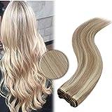 YoungSee Remy Echthaar Tressen Extensions zum Einnähen Blond Strähnchen Weave Hair Human Bundles Aschblond mit Blond Glatt Weaving Human Hair Sew in Tressen Echthaar 100g 40cm