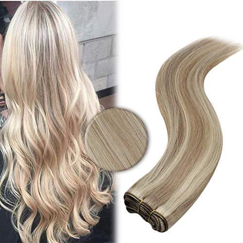YoungSee Remy Echthaar Tressen Extensions zum Einnähen Blond Strähnchen Weave Hair Human Bundles Aschblond mit Blond Glatt Weaving Human Hair Sew in Tressen Echthaar 100g 50cm
