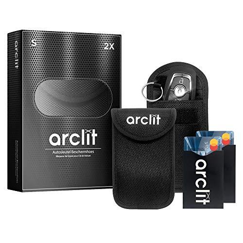 Arclit 2x Keyless Go Schutz Autoschlüssel + 2x RFID Blocker Schutzhüllen für Kreditkarten & Bankkarten | Verhindere den Diebstal deines Autos