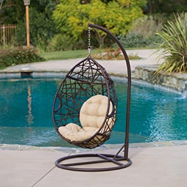 Christopher Knight Home | Outdoor Wicker Tear Drop Hanging Chair | in Brown