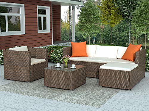 LZ LEISURE ZONE Patio Furniture Set Outdoor Sectional Sofa Set All-Weather PE Rattan Wicker Lawn Conversation Sets 4 Pieces Patio Sofa Set with Cushion & Table (Beige Cushion)