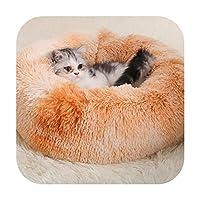 ラウンドぬいぐるみ猫ベッドハウス猫マットドーナツマカロン暖かい睡眠猫巣ソフトロングぬいぐるみ犬のバスケットペットクッションペット用品-A-35cm