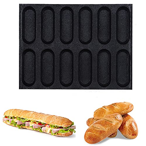 Hot Dog Bun Mold Non Stick Silicone Hot Dog Bun Mold for Baking Hamburger Bread Forms Great Perforated Bakery Molds for Gluten Free Buns (12 Loaf)
