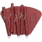 KnSam Tovagliette Tavolo Set da 6, Tovaglietta Isolante 19' x 13' Settore bambù Modello Tovagliette Rosso
