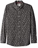 Goodthreads Men's Slim-Fit Long-Sleeve Printed Poplin Shirt, Black Heather Small Floral, Large