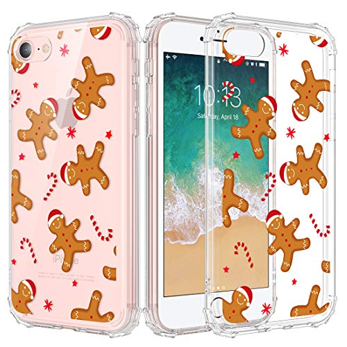 Caka Christmas Case for iPhone 7 8, iPhone SE 2020 Clear Case with Christmas Design for Girls Women Girly Slim Soft TPU Transparent Protective Case for iPhone 6/6s7/8 SE 2020 (Gingerbread Man)