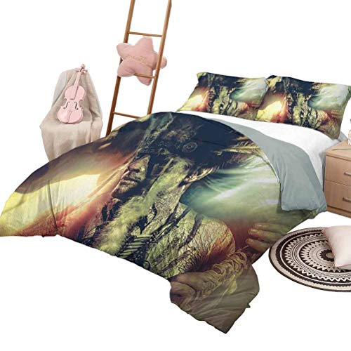 Daybed Quilt Set Tattoo Custom Bedding Machine Washable Brave Native American Warrior Chief of Tribe with Noble White Horse Photo Print King Size Black and White