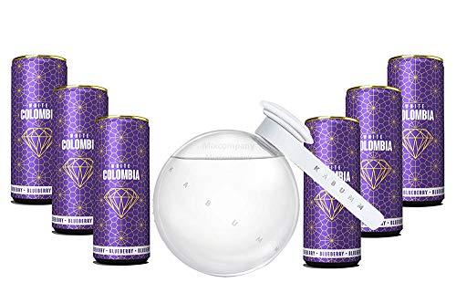 Kabumm Premium Gin 0,7l 700ml (40% Vol) + White Colombia Blueberry Set - Erfrischungsgetränk mit Blueberry Geschmack - 6x 250ml inkl. Pfand EINWEG- [Enthält Sulfite]