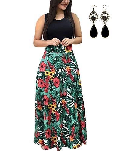 UUAISSO Sommerkleid Damen Lang mit Blüte Drucken Lang High Waist Elastische Strandkleider Maxikleider B-grünes Blatt-Ohne Arm 5XL=EU 50-52