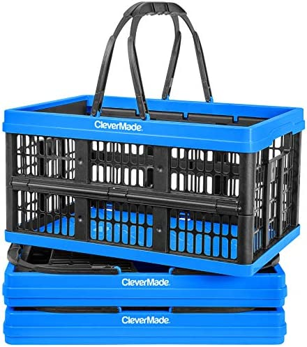 CleverMade Collapsible Plastic Grocery Shopping Baskets Small Folding Stackable Storage Containers product image