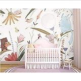Weaeo Niedlichen Tier Und Blume 3D Cartoon Wandaufkleber Für Kinderzimmer Baby 3D Cartoon Wallpaper Wandbild 3D Wandbild Wandpapier-280X200Cm