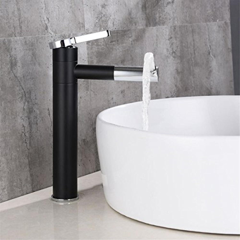 Küchenarmatur Waschtischarmatur Wasserfall Wasserhahn Retro- schwarzes Badezimmertoiletten-Hahnbadezimmer, das über Gegenbassinhahnbadezimmer-Beckenhahn heies und kaltes Wasser sich dreht