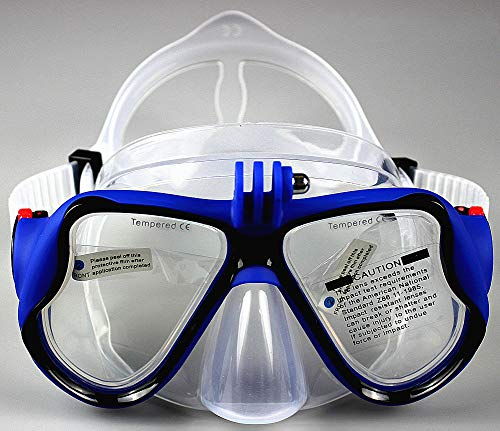 WOWDECOR Tauchmaske für Gopro Kamera Erwachsene Kinder mit Kurzsichtigkeit Kurzsichtig, Schnorchelmaske Taucherbrille Dioptrin Dioptrien Korrektur (Blau, -5,0)