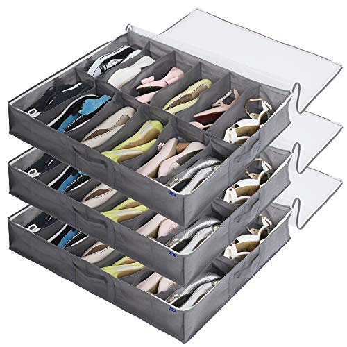 Surblue Under Bed Shoe Organizer Storage Bag with Transparent Skylight and Zippered,12 Pairs,Grey,3 PCS