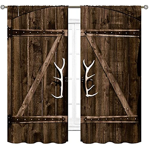 Cinbloo Farmhouse Barn Door Curtains Rod Pocket White Garage Gate Vintage Rustic Country Antler Modern Art Printed Living Room Bedroom Window Drapes Treatment Fabric 2 Panels 42 (W) x 63(L) Inch