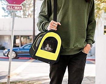PET MAGASIN Sac de Transport pour Chat - Bandouliere Caisse de Transport pour Chat, Petit Chien, Lapin, Demontable Lavable Respirant et Pliable (Noire)