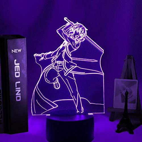 Luz De Noche LED Con luz De Ilusión 3D Acrílico Anime Sword Art Online Kirito Badass Decoración de personajes Dormitorio Regalo de cumpleaños Cómic Niño y niña Lámpara de mesita de noche