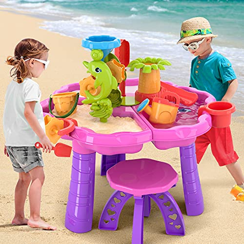 TEMI 3-in-1 Sand Water Table for Kids,Summer Toys Activity Table Sandbox Toy Sensory Table 28PCS Outdoor Toy Beach Play Table With Dolphin Water Wheel ,for Toddler Boys Girls (3 IN 1 Sand Water Table)