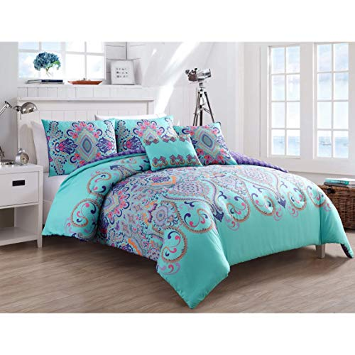 VCNY Home Amherst Collection Comforter Soft & Cozy Bedding Set, Stylish Chic Design for Home Décor, Machine Washable, Queen, Aqua