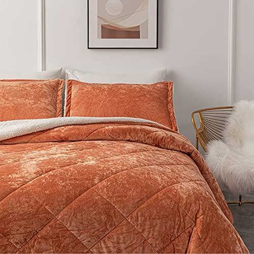 FIFU Velvet Comforter Set Queen, Burnt Orange Bedding with Sherpa Backing, 3-Piece Reversible Down Alternative Comforters for Queen Bed, Full/Queen (90x94 Inches), Burnt Orange