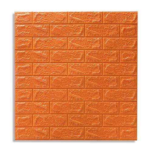 sknonr 3D Dreidimensionale Wandaufkleber Ziegelsteinhintergrundwand Selbstklebende Schaumtapete Wandaufkleber (Color : Orange)