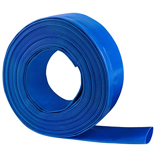 Eastrans 1.5'' x 100 FT Heavy Duty Reinforced PVC Lay Flat Discharge and Backwash Hose for Swimming Pools