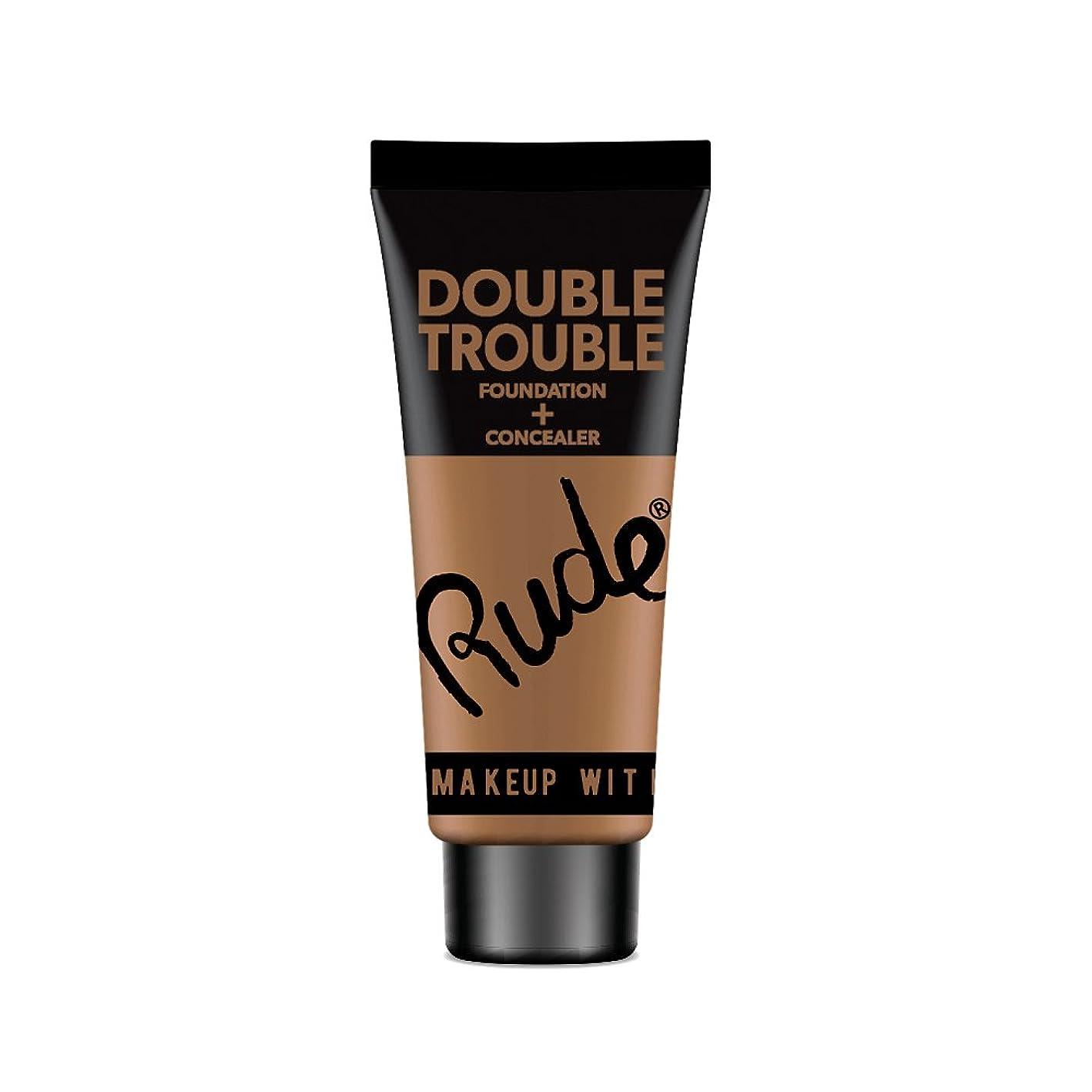 媒染剤放置旅客RUDE Double Trouble Foundation + Concealer - Espresso (並行輸入品)