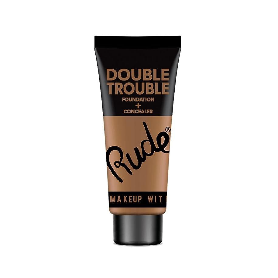 家お父さん熱(6 Pack) RUDE Double Trouble Foundation + Concealer - Espresso (並行輸入品)
