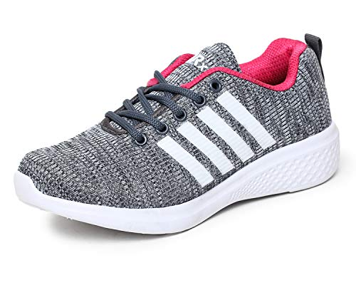 TRASE Relaxie Grey Pink Gym Shoes for Women - 8 UK