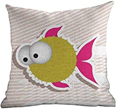 DKISEE Linen Blend Super Soft and Luxurious Pillowcase Fish, Comical Illustration of A Bubble Fish Abstract Blowfish with Huge Eyes, Fuchsia Gold Pearl White 22x22 Inches