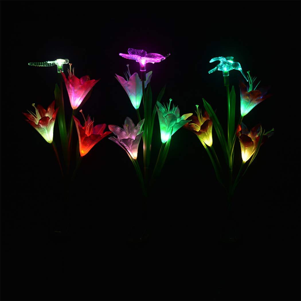 Luces de Juego de jardín Solar, 3 PAQUETAS Luces de Flor de Lirio con energía Solar con Mariposa, libélula, decoración de Aves Volando, iluminación de decoración de Paisaje Solar: Amazon.es: Deportes y