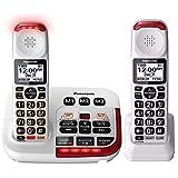 Panasonic KX-TGM420W Amplified Cordless Phone with Digital Answering Machine, 2 Handsets , White