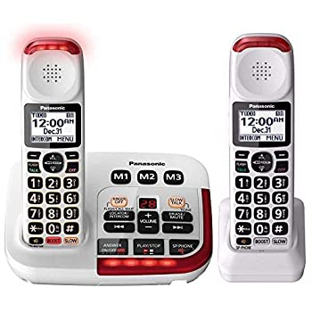 Panasonic KX-TGM420W Amplified Cordless Phone with Digital Answering Machine 2 Handsets  White