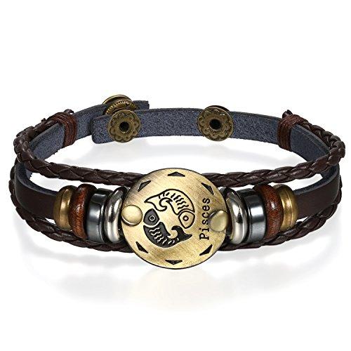 JewelryWe Pulseras del Horóscopo Zodiaco Piscis, Retro Vintage Brazalete de Hombre Mujer, Marron Dorado Simbolo de Estrellas de Buena Suerte, Buen San Valentin