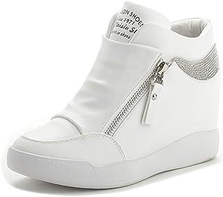 [CHIIKA] レディースシューズ 厚底靴 インヒールスニーカー ハイカット ジッパー アルファベット 身長アップ 高級PU 痛くにくい 可愛い クッション性 シンプルデザイン ファッション コンフォート デイリー 春 ホワイト