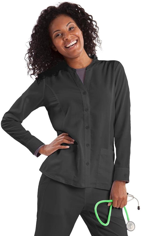 Healing Hands Purple Label Women's Dana 5044 Button Front Scrub Jacket Scrubs Pewter Medium