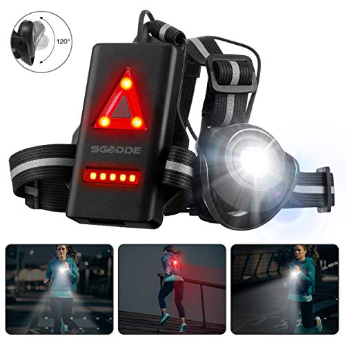 SGODDE Outdoor Night Running Lights, LED Chest Run Light with 120° Adjustable Beam, Safety Back Warning with Rechargeable Battery for Camping, Hiking, Running, Jogging, Outdoor Adventure