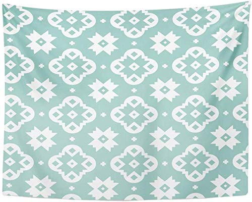 AdoDecor Tapiz Southwest Southwestern Quatrefoil Aqua, tapices Blancos geométricos para Colgar en la Pared para Sala de Estar, Dormitorio, 150x200cm/59 * 79pulgadas