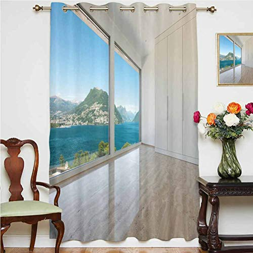 Modern Decor Wide Blackout Curtains Interior of Penthouse Empty Living Room Large Windows Sea Mountains View Thermal Backing Sliding Glass Door Drape ,Single Panel 63x84 inch,for Glass Door White Blu