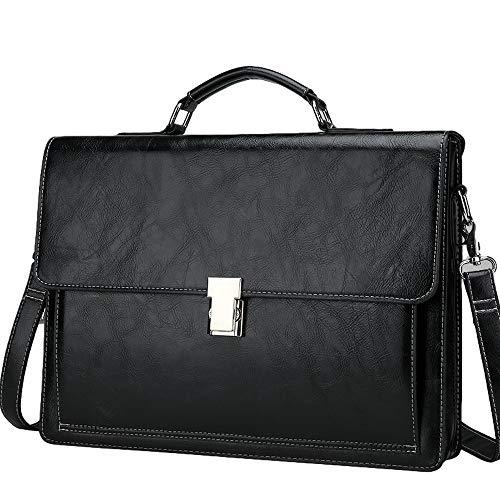 Leather Travel Briefcase,Top-Handle Handbags Leather Doctors Bag Laptop Attache Case Lawyer Briefcases Lock 15 Inch Business,Black