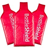 3 Pack Reusable Wine Protector Travel Bag by Bottle Shield - Double Layer Bubble Cushioning Wrap Suit   Leak Proof Unbreakable Bottle Sleeve   Wine Bags Gift Accessory for Suitcase Luggage