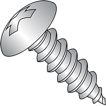 Truss Head 18-8 Stainless Steel Sheet Metal Screw #10-16 Thread Size Type AB Phillips Drive Pack of 50 Plain Finish 3//8 Length