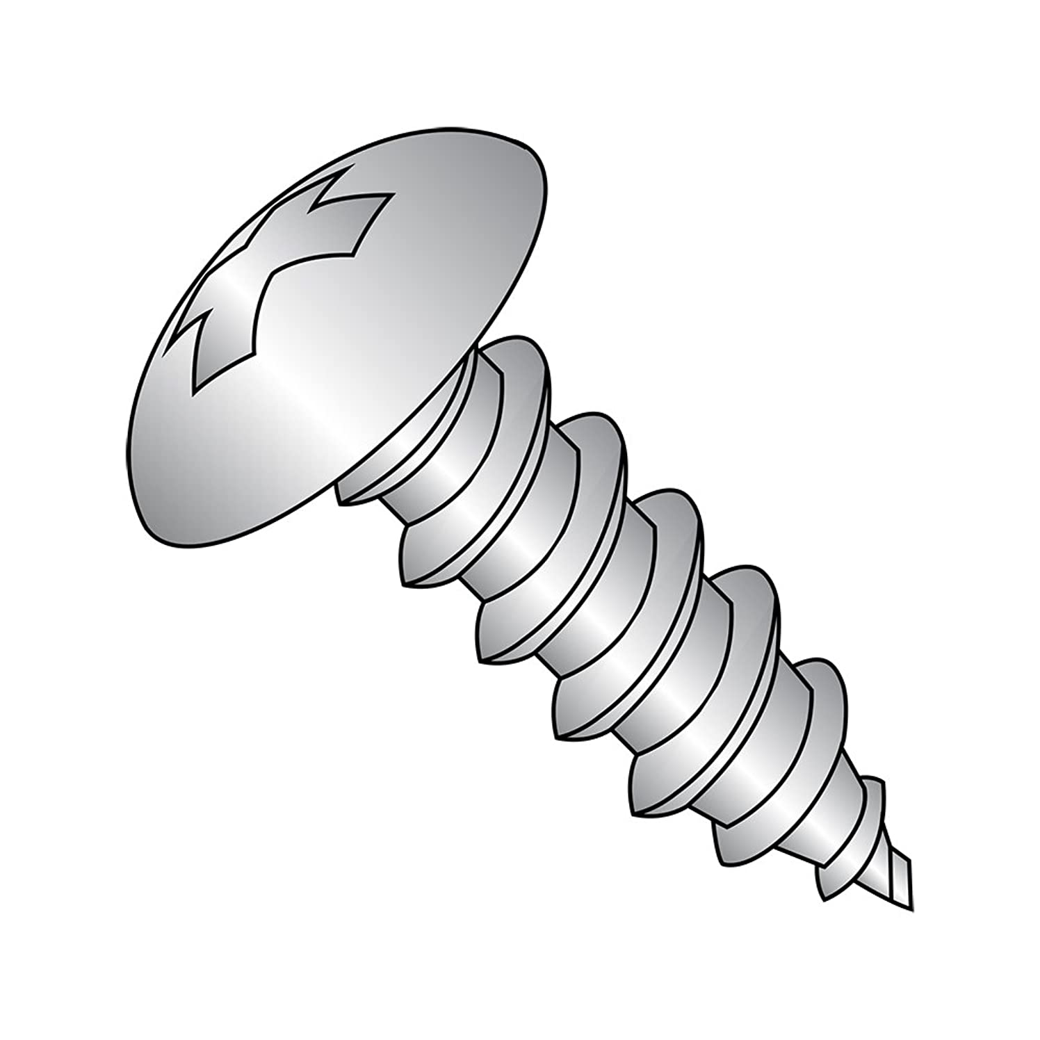 18-8 Stainless Steel Sheet Metal Screw, Plain Finish, Truss Head, Phillips Drive, Type AB, #4-24 Thread Size, 3/8