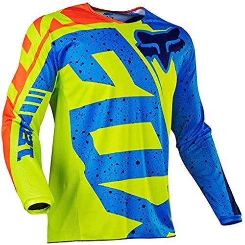 Hombre Mountain Bike Motocross Jersey Camiseta de Manga Larga Traje de Descenso al Aire Libre a Prueba de Viento Transpirable y Que Absorbe El Sudor Secado Rápido MTB Maillots