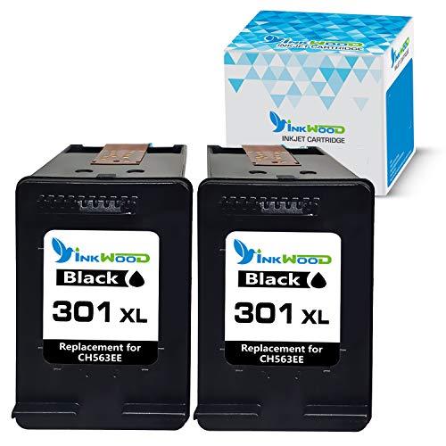 Inkwood Ersatz für HP 301XL 301 XL Schwarz 2-Stück Wiederaufbereitet Druckerpatrone für DeskJet 3050 1050 2544 3055a 2540 2547 2549 3059a 1510 OfficeJet 4632 4636 2620 Envy 4504 4508 Drucker
