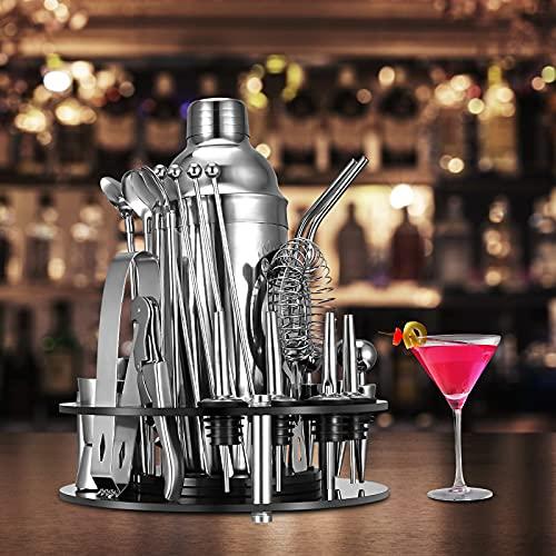 KKTECT Cocktail Set,31 Pezzi Shaker Cocktail Kit da Barman Professionale in Acciaio Inox con supporto rotante per Casa E Bar