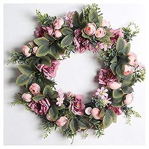 LIULAN Eucalyptus Wreath, Rose Wreath, Cosmos Flower Wreath, Indoor Spring and Summer Green Wreath, Artificial Door Front Wall Decorative Wreath Pendant,D
