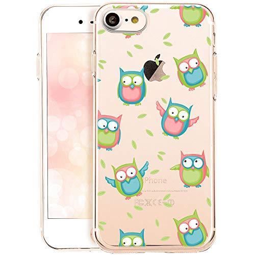 OOH!COLOR Funda de teléfono móvil para iPhone 8 / iPhone 7 Funda de Silicona Funda de móvil Funda Transparente con Motivo Pájaros búho