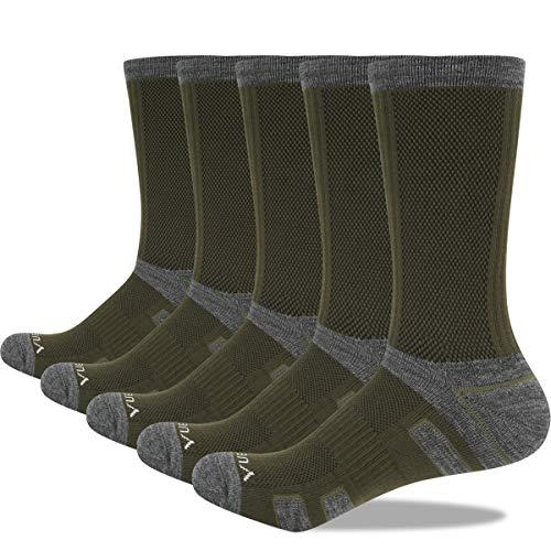 YUEDGE Herren Dicke Baumwolle Winter Thermo Warme Bundeswehr Socken Wandersocken Sportsocken Work Arbeitssocken für Männer Schwarze/Weiße 43-46 39-42 5 Paar XL